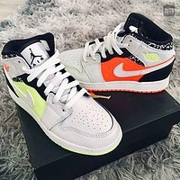 "Air Jordan 1 Mid ""Yellow/Orange"" sneakers basketball shoes"