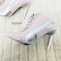 "CR Baby Pink Silver Pointy Toe Lace Up Sporty 4"" High Heel Slip on Sneaker Mules"