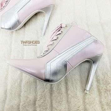 """CR Baby Pink Silver Pointy Toe Lace Up Sporty 4"""" High Heel Slip on Sneaker Mules"""