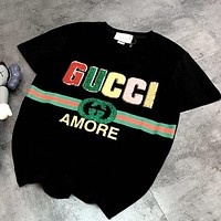 Gucci new retro bright silk round neck T-shirt Red Green Stripe Letters Plush Black