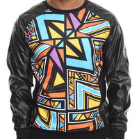 Aztec Party Printed Lightweight Crewneck Sweatshirt W/ Faux Leather Sleeves