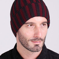 Dark Red Striped Knitted Beanie
