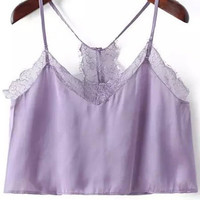 Purple Lace Strappy Crop Top