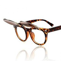 Cute Testudinarious Frame Sunglasses with Liftable lens