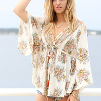 Miami Sunrise Floral Wide Sleeve Top