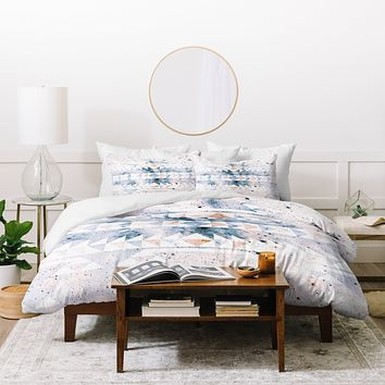 Caleb Troy arctic gold tribal Duvet Cover
