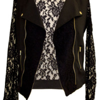 Knit Moto Jacket With Lace