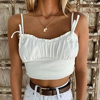 2020 summer new sexy solid color vest tight-fitting bottoming sling short knitted top Vertical embossing white two sides knotted bow line