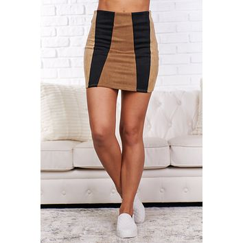 This One Time Color Block Suede Skirt (Mocha)