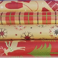 100 sqft Christmas Print Vintage Kraft Wrapping Paper, 4 30 in X 13.33 Ft. Rolls