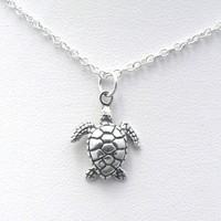 Sea Turtle Sculptural Sterling Silver Charm Necklace Ocean Nautical Marine Life Jewelry:Amazon:Jewelry