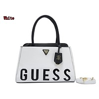 """GUESS"" spring  fashion  new women's fashion wild simple stitching letter shoulder bag White"