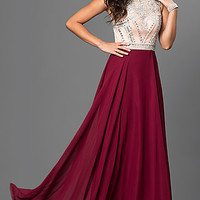Long Burgundy Prom Dress with Beaded Top