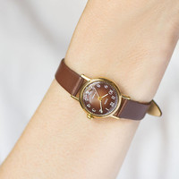 Brown face women's watch Dawn, gold plated watch vintage, classic woman watch, small mechanical watch gift women, new premium leather strap