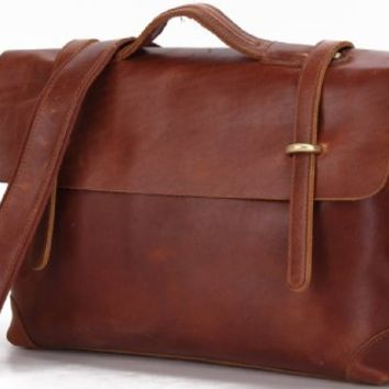15.6 Inch Crazy Horse Leather Men's Red Brown Briefcase Laptop Handbag Messenger Bags