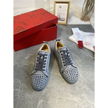 CL Christian Louboutin Female and Male SIZE 35-44 Fashion Low Top Red Soled Shoes Latest Casual Couple Sneakers Boots