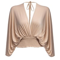 Sexy Plunging Neck Halter Elastic Waist Long Sleeve Blouse for Women