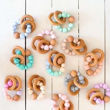 Indie & Chic Silicone Bead Teething Baby Rattle