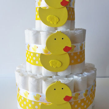Duck Diaper Cake, Rubber Ducky Diaper Gift, Gender Neutral Baby Gift, Baby Shower Centerpiece,Yellow Diaper Cake, Gender Reveal Party