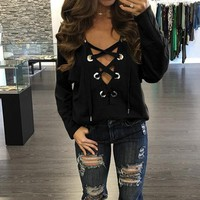 Women Casual Solid Color Strappy Crisscross Hollow V-Neck Tops Long Sleeve T-shirt