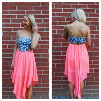 Strapless Tie Dye Spot Strapless Dress with Cutout Back
