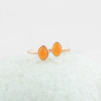 Two Little Marquise Stone Sterling Silver Ring, Fanta Chalcedony Double Marquise Stone Rose Gold Silver Ring Jewelry - #SB-50019