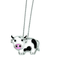 Cheryl M Sterling Silver CZ Enamel Cow 18in. Necklace QCM870-18