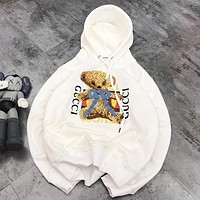 GUCCI New fashion embroidery bear letter print couple hooded long sleeve top sweater