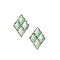 Green Rhombus Stud Earrings