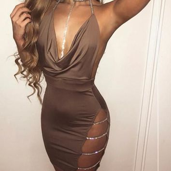 Lau- Crystal Rhinestone V Neck Side Slit Mini Dress