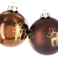 Brown Ball Ornaments with Golden Glitter Deer | Shop Hobby Lobby