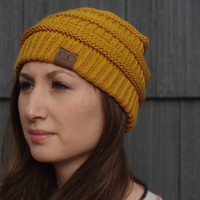 Thick Knit Cozy Beanie - Mustard