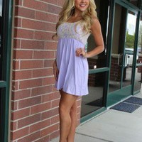 Lavender and Cream Lace Top Short Dress