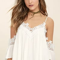 Daily Devotion White Lace Off-the-Shoulder Top