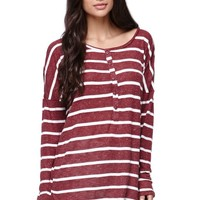 Volcom Long Sleeve Seven Days Top - Womens Tee - Red -