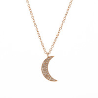 14K Rose Gold & Diamond Crescent Moon Necklace