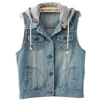 Partiss Womens Detachable Hood Bleached Denim Vest, Small, Light Blue