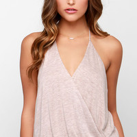 Twist It All Better Beige Halter Top