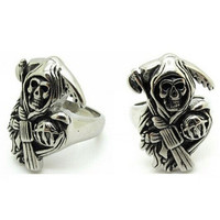 2015 NEW Sons of Anarchy Solid Silver Stainless Steel Anarchy Biker Punk Mens Skull Ring