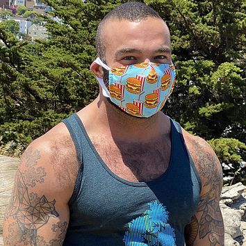 Hamburger Print Protective Face Mask:  Made in USA, Woven Cotton With Filter Inserts