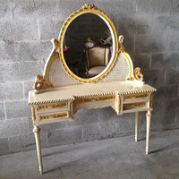 Antique French Louis XVI Round Vanity Make Up Table w/Oval Mirror Creme Frame in Bright Yellow Caned Gold Leaf Accent Console 19 Century