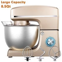 Stand Mixer, Sincalong 8.5QT 660W 6 Speed Tilt Head Electric Mixer with Stainless Steel Bowl, Splash Guard, Dough Hook, Flat Beater, Whisk Dough Kneading Machine, Champagne Ez Store USA