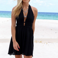 Montego Bay Black Rope Halter Dress