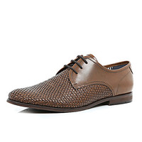 River Island MensBrown leather woven formal shoes