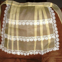 Vintage Apron Sheer Silk Vintage Organdy Pleated Yellow Apron White Lace