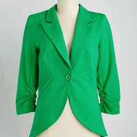 Menswear Inspired Mid-length 3 Fine and Sandy Blazer in Grass