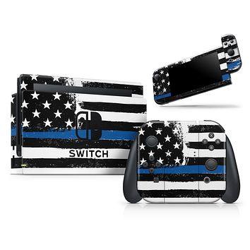 Grunge Patriotic American Flag with Thin Blue Line V2 - Skin Wrap Decal for Nintendo Switch Lite Console & Dock - 3DS XL - 2DS - Pro - DSi - Wii - Joy-Con Gaming Controller