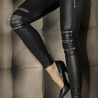 Black zipper leather slim pantyhose legging stovepipe 7780