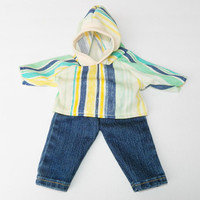 """BITTY BABY BOY Clothes, 15 inch Bitty Baby Clothes, 2-Piece Outfit, Cool """"Stripe"""" Hoodie Top,Blue Jeans, 15 inch American Doll Bitty Boy"""