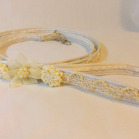 RockinDogs Pearl Satin Covered Wedding Bridal Dog Leash. Available in Ivory or White